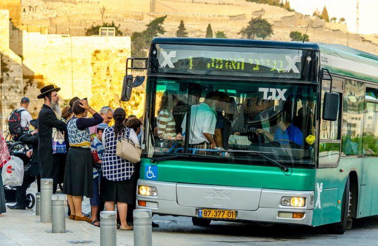Jerusalem/israel- August 17, 2016: Group Of Orthodox Jews Waitin